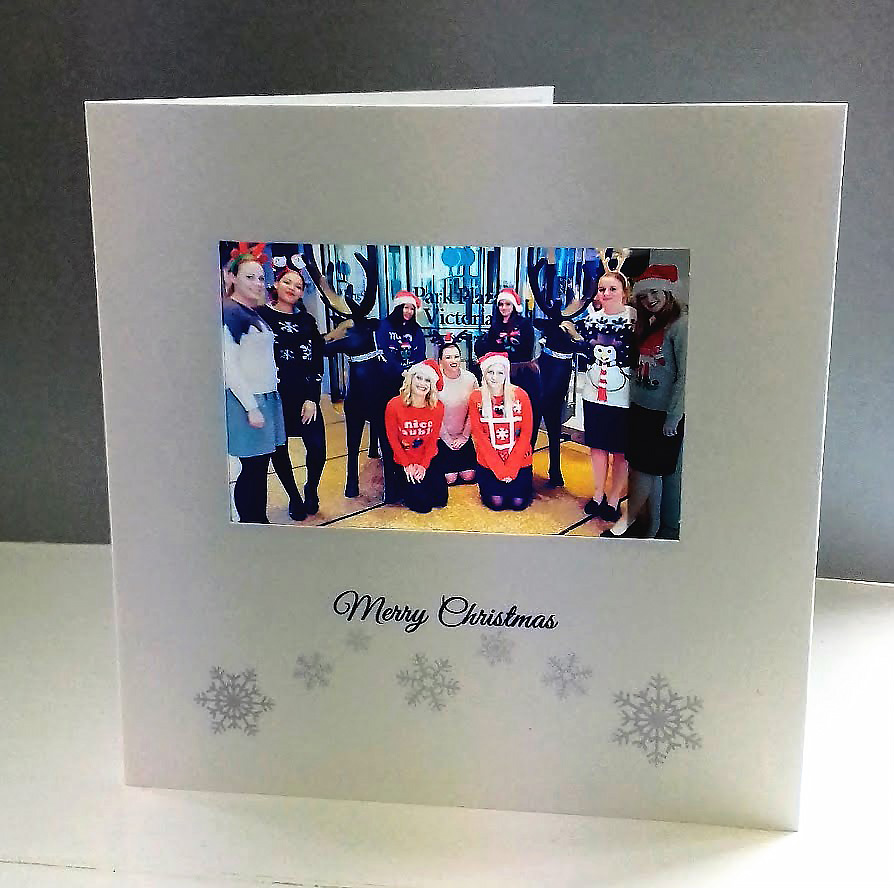 Team photo as corporate christmas cards