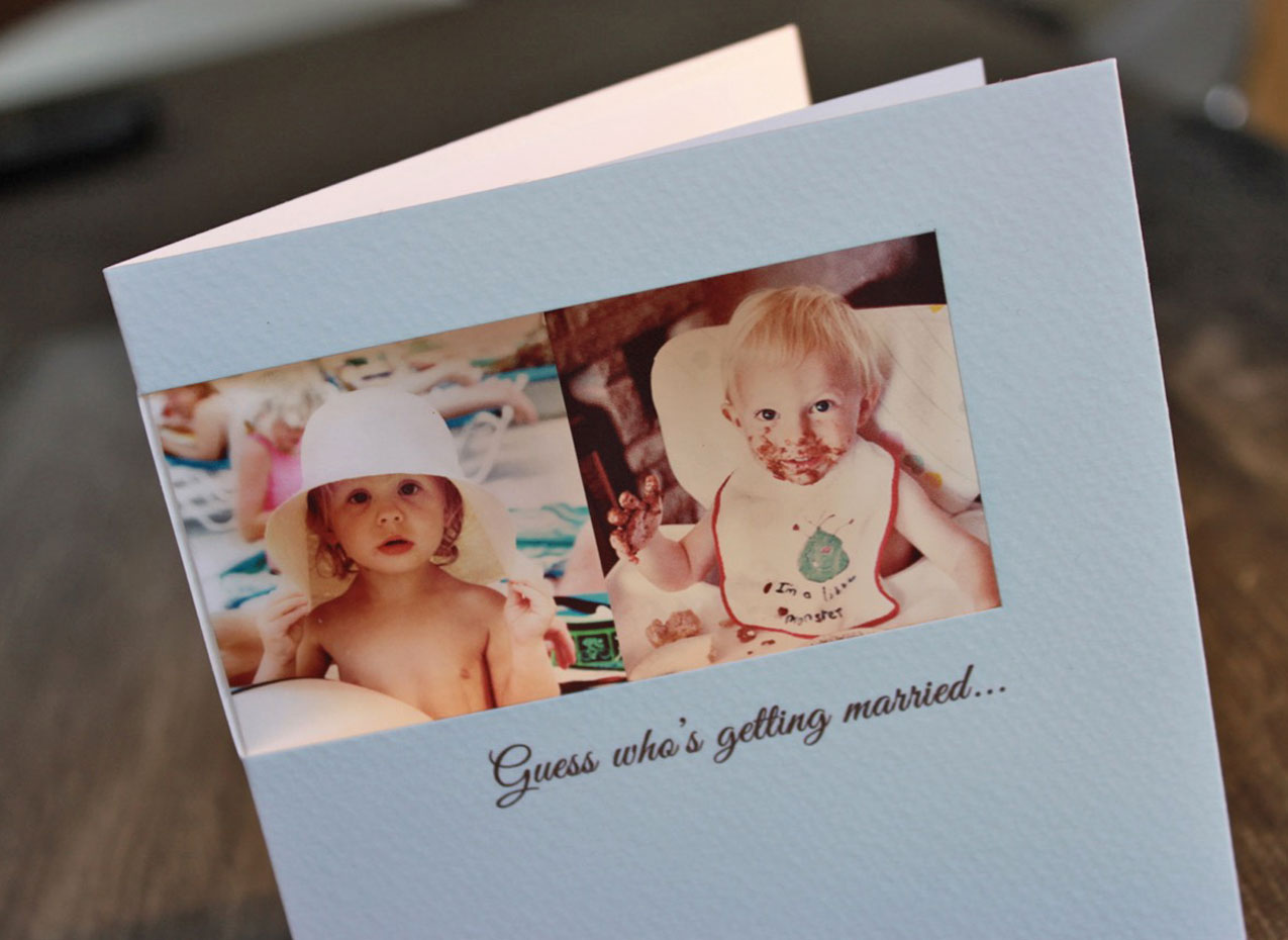 wedding invite with baby photos