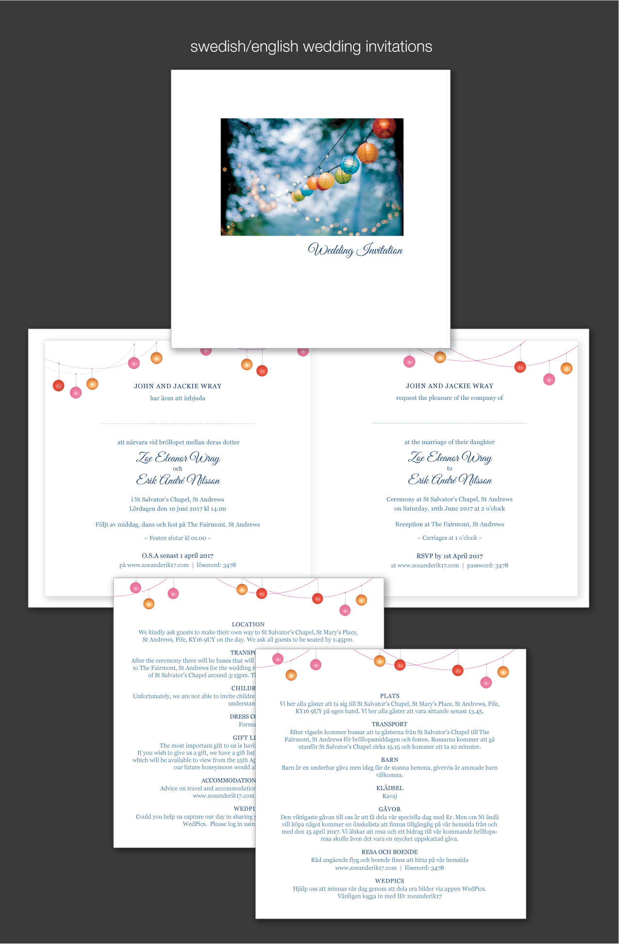 swedish bilingual wedding invitations