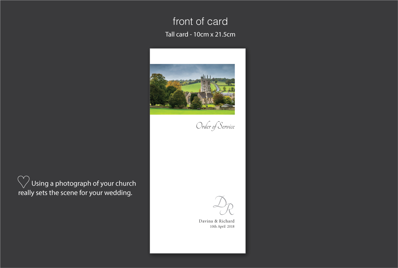 personalised order of service with church