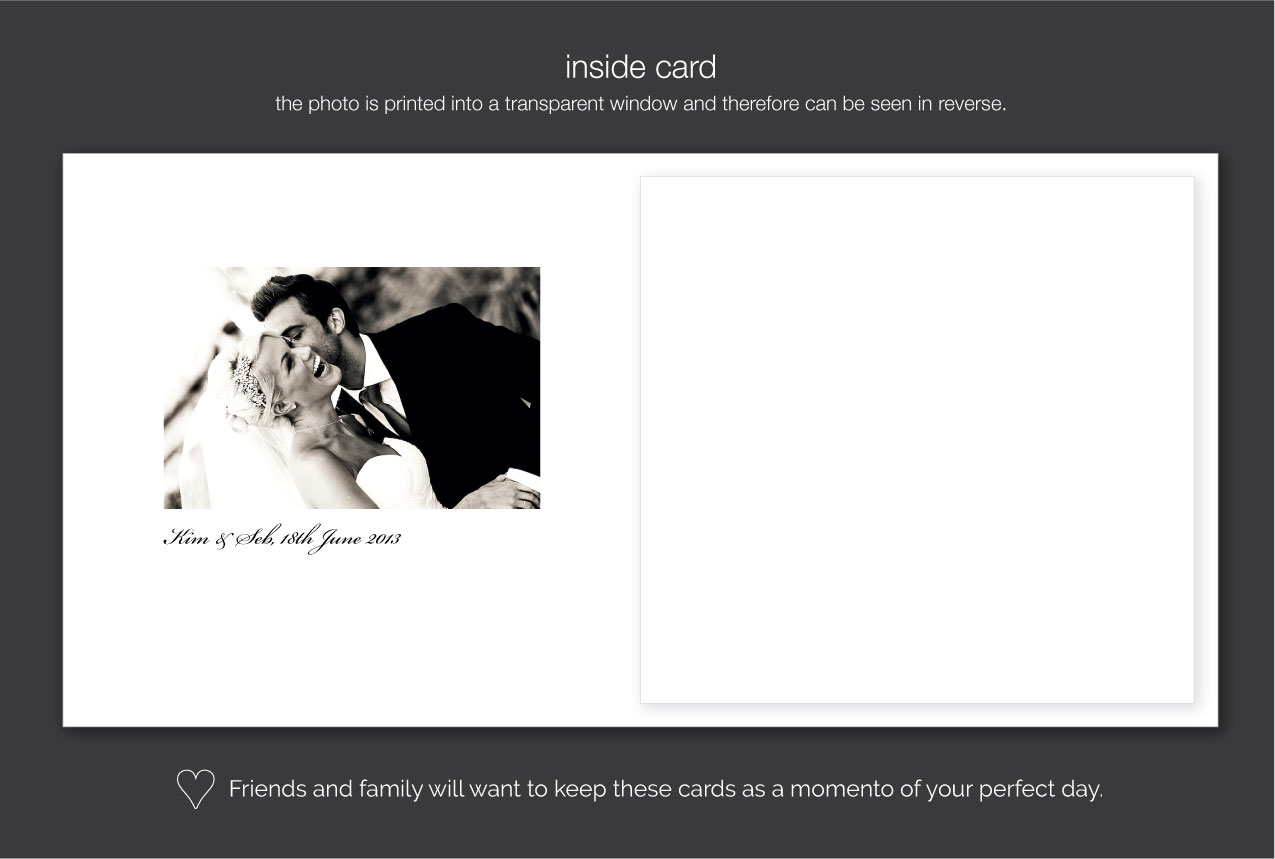 wedding thank you card with black and white photo
