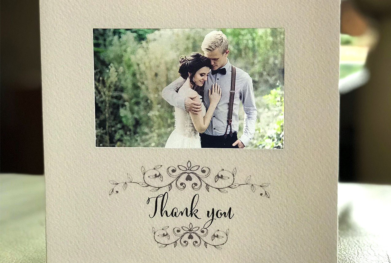 vintage wedding thank you card