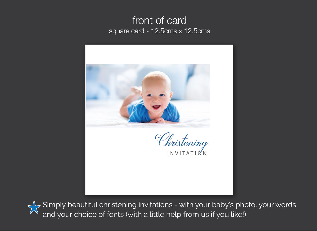 personalised christening invitations with baby photo