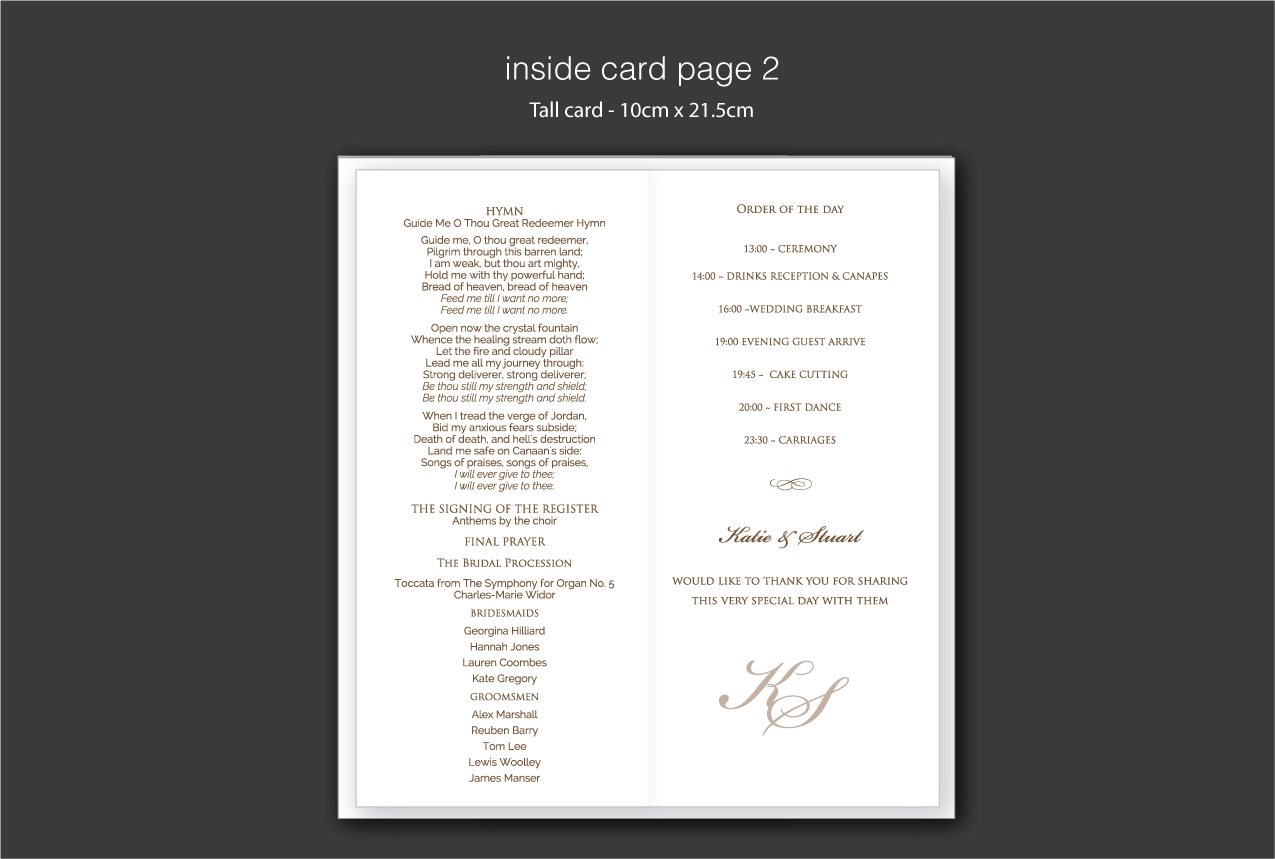 service cards for wedding