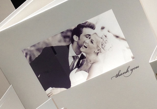 black and white wedding thank you card