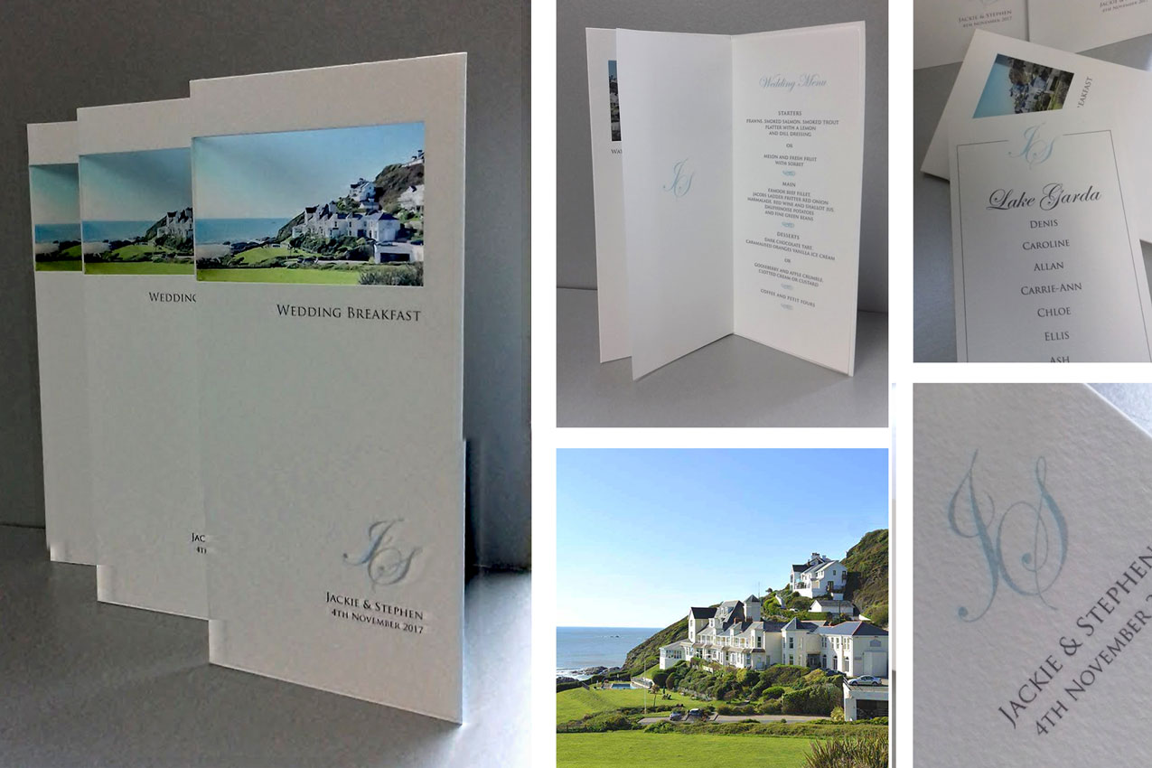 wedding breakfast menu cards with photo of venue