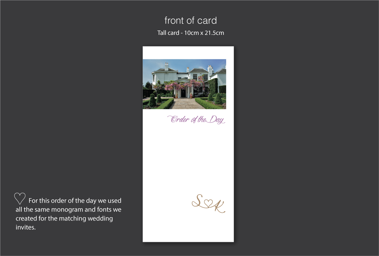 Hotel venue wedding order of the day cards