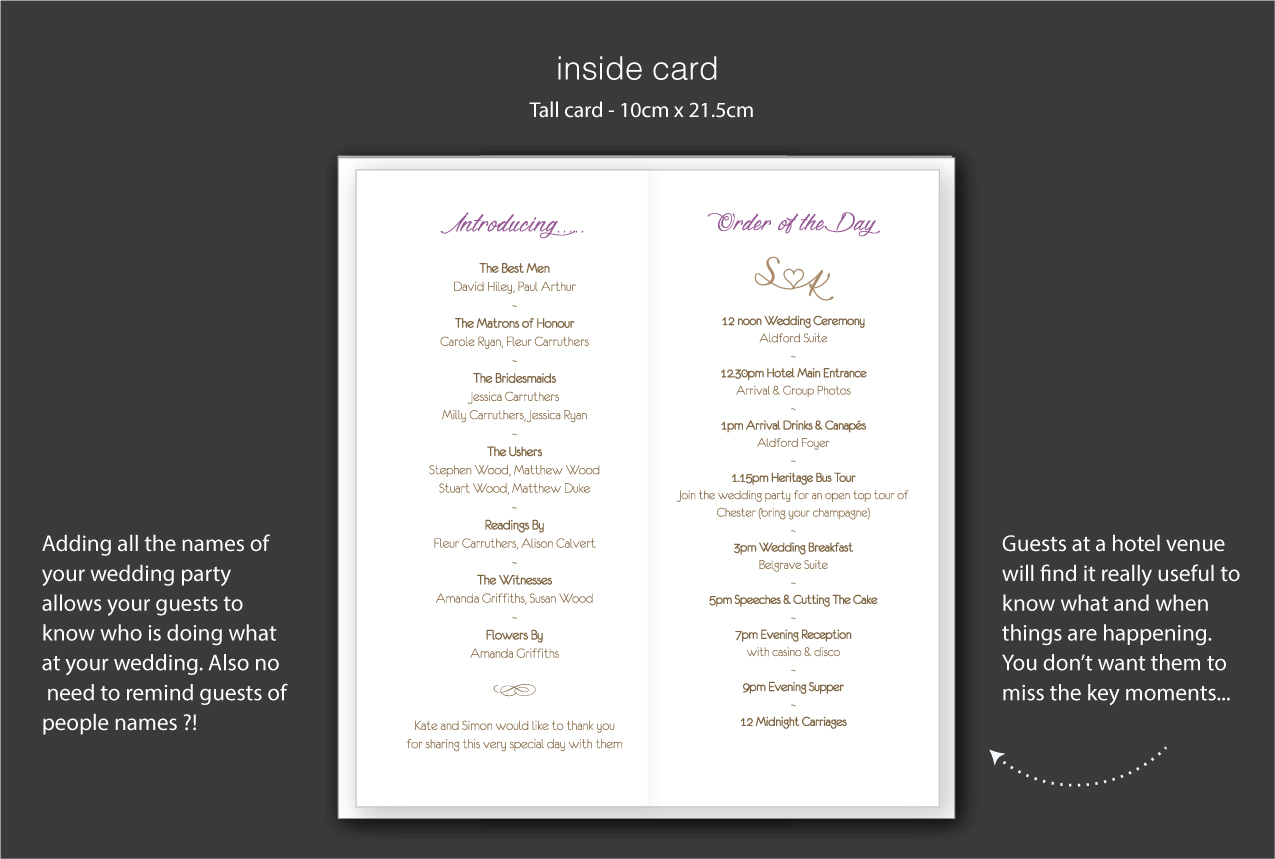 order of the day cards