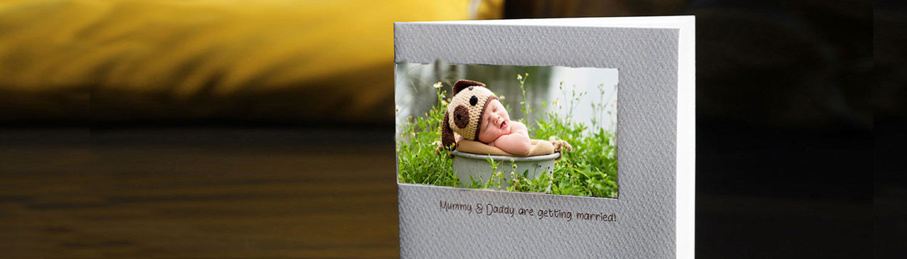 personalise cards using baby photo