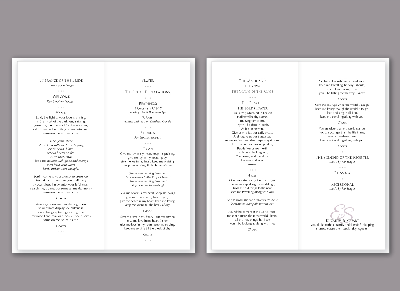 order of service with personalised wording