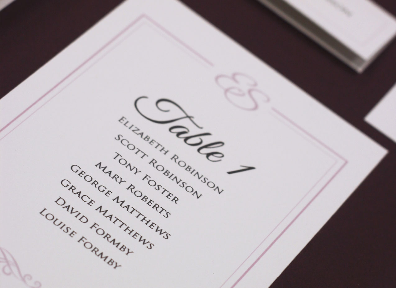 co-ordinating table stationery