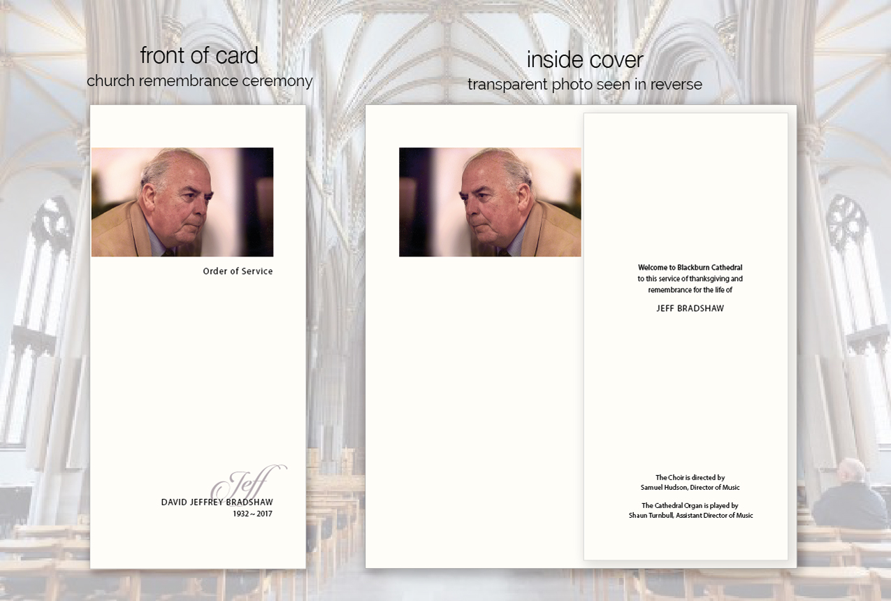 beautiful funeral order of service cards with photo
