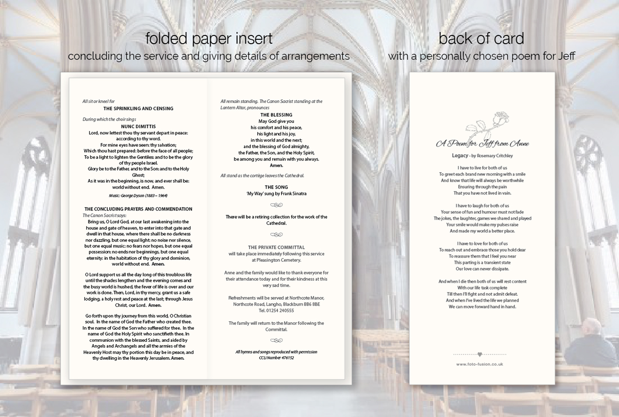personalised funeral order of service cards with photo