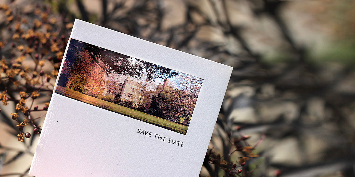 save the dates with venue photo