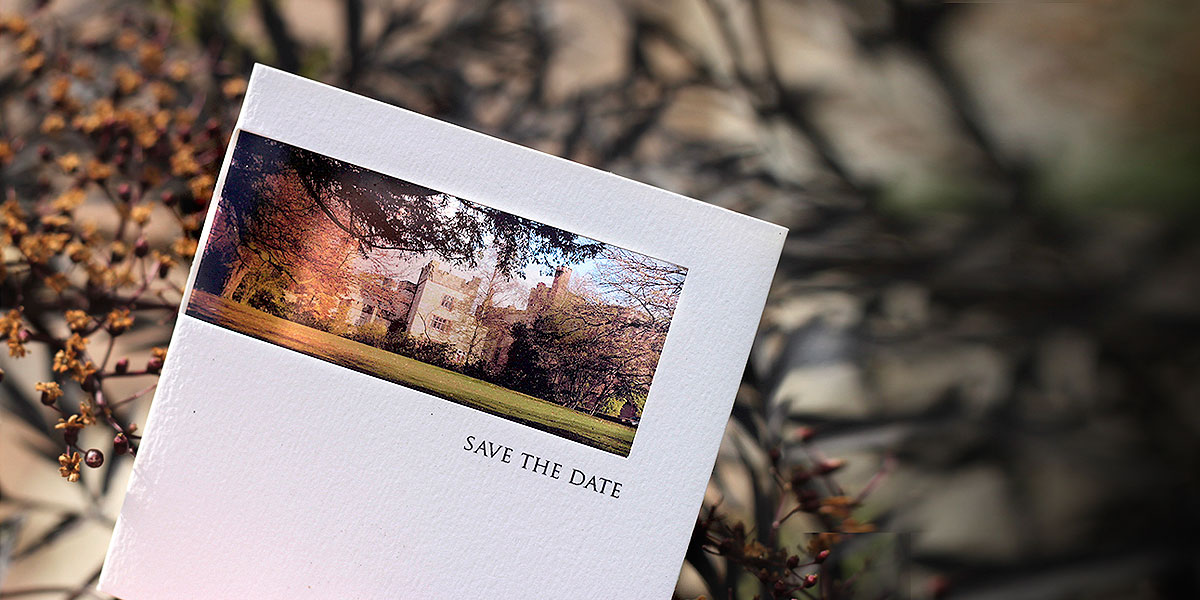 save the date with venue photo
