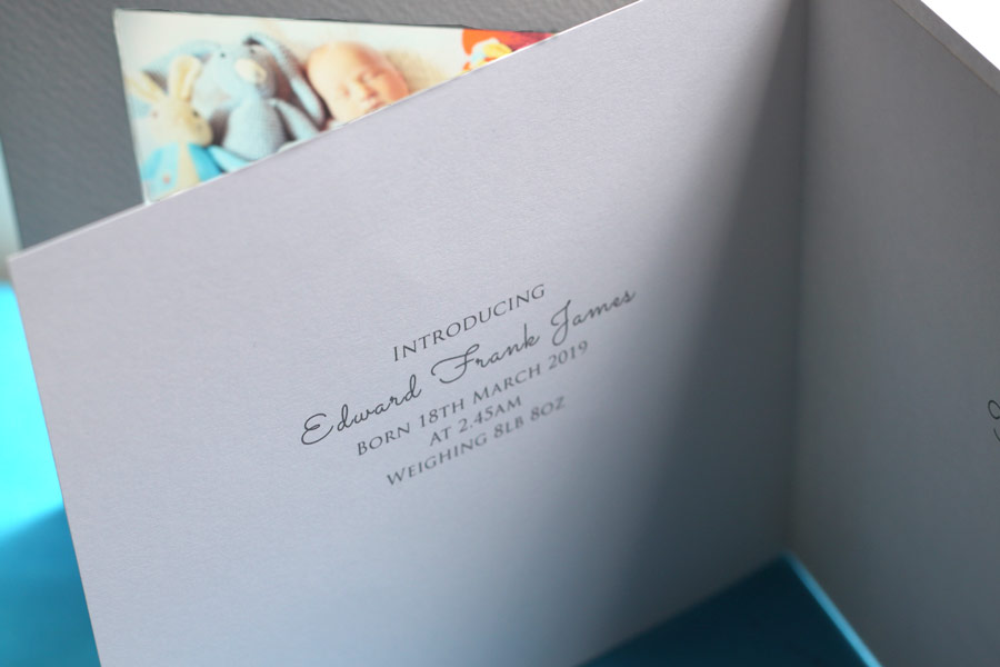 inside baby announcement card